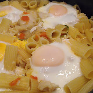 Seafood Pasta with Poached Eggs.