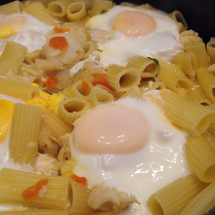 Seafood Pasta with Poached Eggs