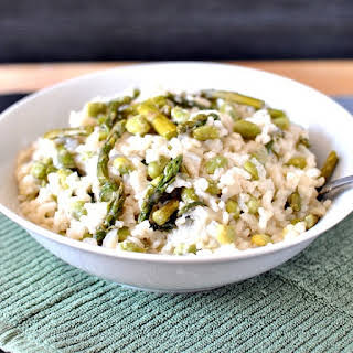 Spring Risotto with Fresh Asparagus and Edamame.