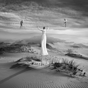 Motherhood by Dariusz Klimczak - Digital Art People ( child, girl, mother, stilts, children )