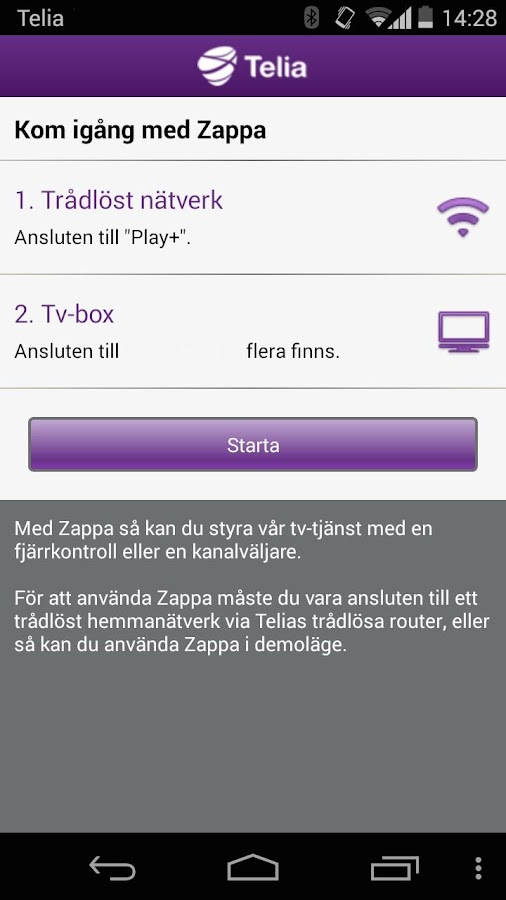 Tv från Telia, Zappa- screenshot