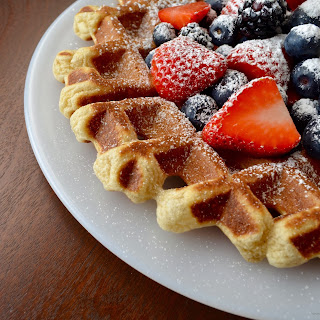 Light Fluffy Crispy Buttermilk Waffles.