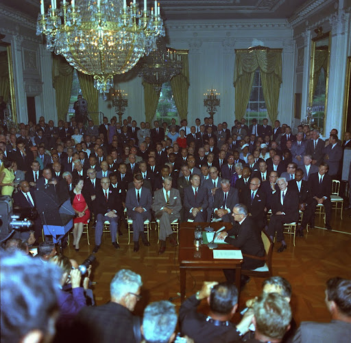 President Lyndon B. Johnson speaks to the nation before signing the Civil Rights Act of 1964