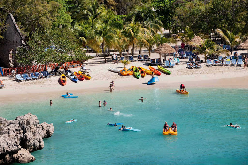 Labadee-beach-scene-Royal-Caribbean - Water sports, swimming, snorkeling, kayaking and parasailing are all part of the action at Labadee, Royal Caribbean's 260-acre private beach resort on the north coast of Haiti.