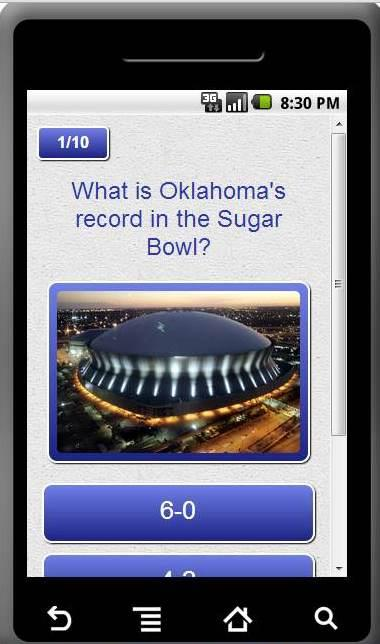 Oklahoma Sooners Trivia App - screenshot