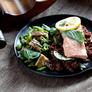 Poached Salmon with Sautéed Shiitake Mushrooms, Sugar Snap Peas & Red Rice