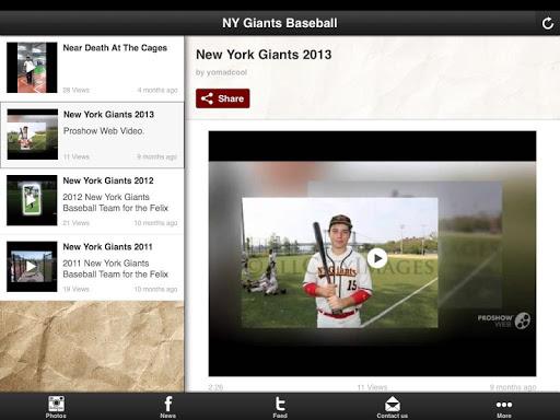NY Giants Baseball Team Stream