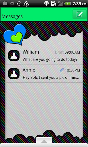 GO SMS THEME NeonStripCloud4