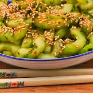Spicy Cucumber Salad Recipe with Thai Basil and Sesame Seeds.
