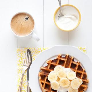 Peanut Butter Chocolate Waffles with Bananas and Honeyed Yogurt