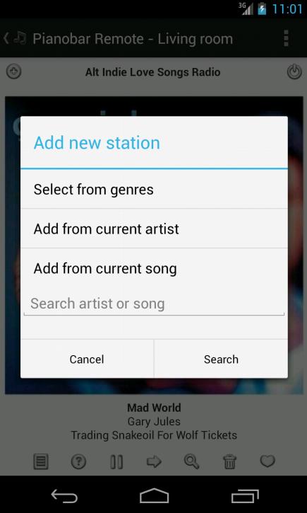 Pianobar (Pandora) Remote - screenshot