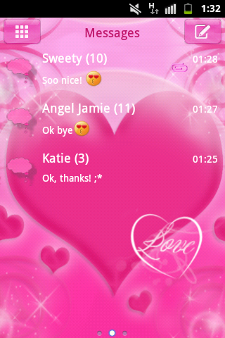 GO SMS Pro Theme Pink Love Buy