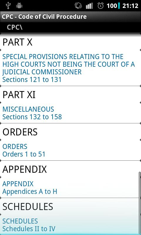CPC - Code of Civil Procedure- screenshot