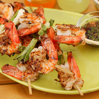 Grilled Shrimp and Scallions with Southeast Asian Dipping Sauces.