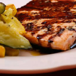 Roasted Salmon with Balsamic Sauce.