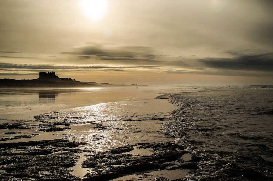 Retreating Tide by Nicole Williams - Novices Only Landscapes ( bamburgh castle coast beach sea )