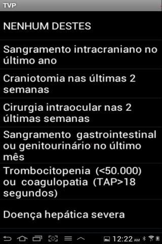 Profilaxia de trombose venosa - screenshot