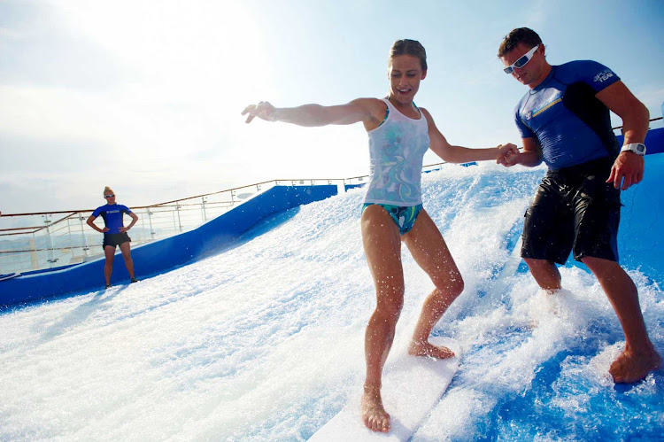 Have you ever wanted to learn to surf? On Oasis of the Seas, step onto the FlowRider surfboard simulator and get tips from a trainer.