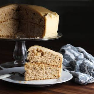 Spice Cake with Caramel Cream Cheese Frosting.