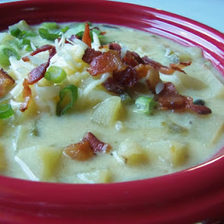 Cheddar Potato Soup With Roasted Poblanos and Bacon.
