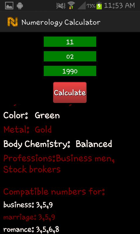 Numerology Calculator - screenshot