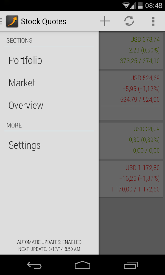 Stock Quotes- screenshot