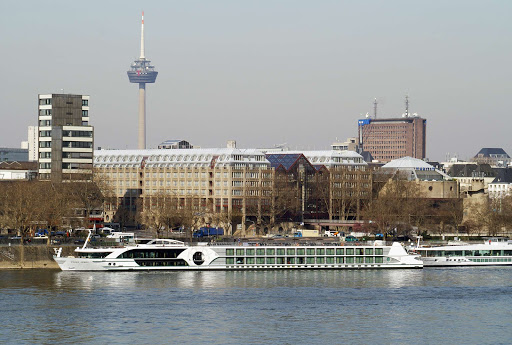 Tauck's 118-passenger Swiss Jewel river cruise ship in Cologne, Germany.