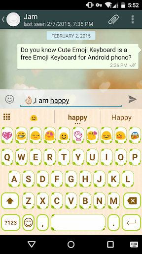 Cute Green Emoji Keyboard