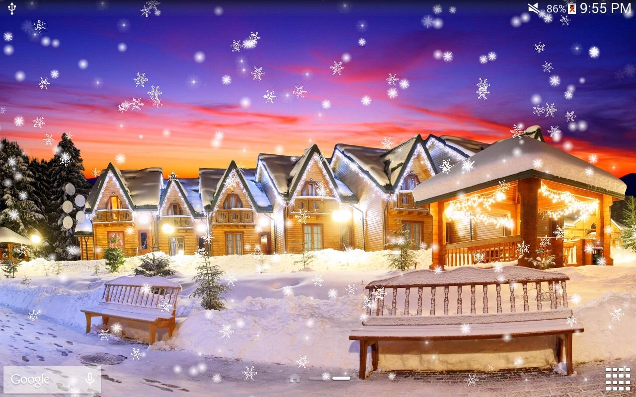 Beautiful christmas snow pictures the snow on christmas day in - Snow Night Pro Live Wallpaper Screenshot