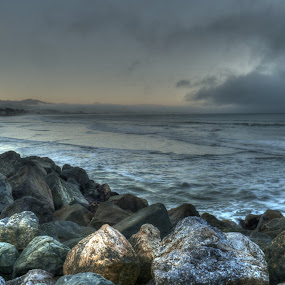 San Mateo Surf by Drew Campbell - Landscapes Waterscapes ( sunset, pacific, ocean, half moon bay )