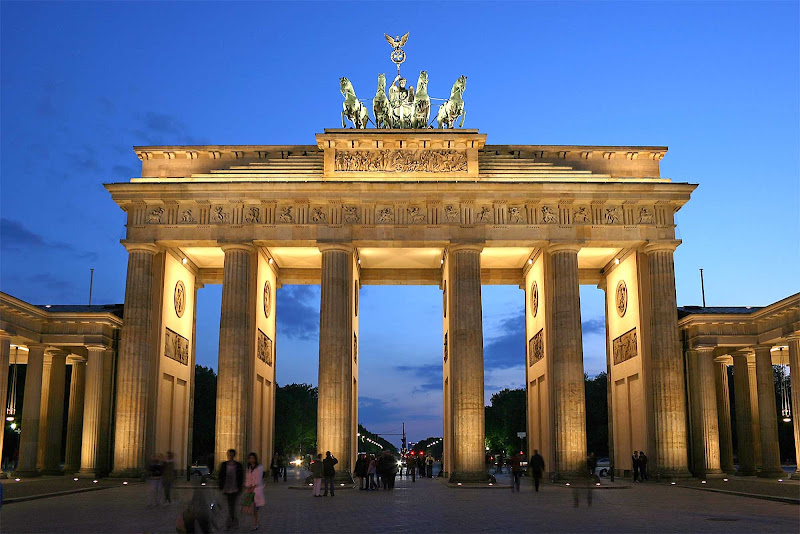 The Brandenburg Gate in the Moabit section of Berlin is a former city gate, rebuilt in the late 1700s as a neoclassical triumphal arch. It's one of Germany's best-known landmarks.