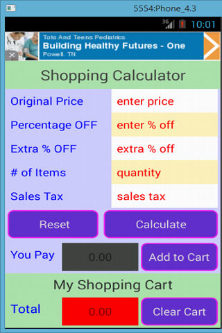 Shopping Calculator- screenshot
