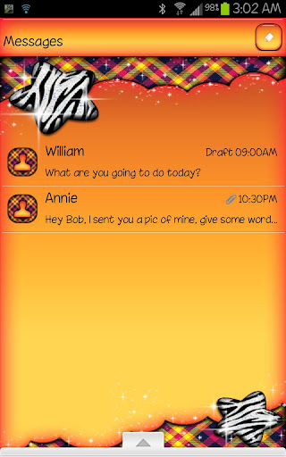 GO SMS - Zebra Star Skies 2