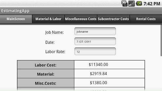 Construction Estimating App - screenshot thumbnail