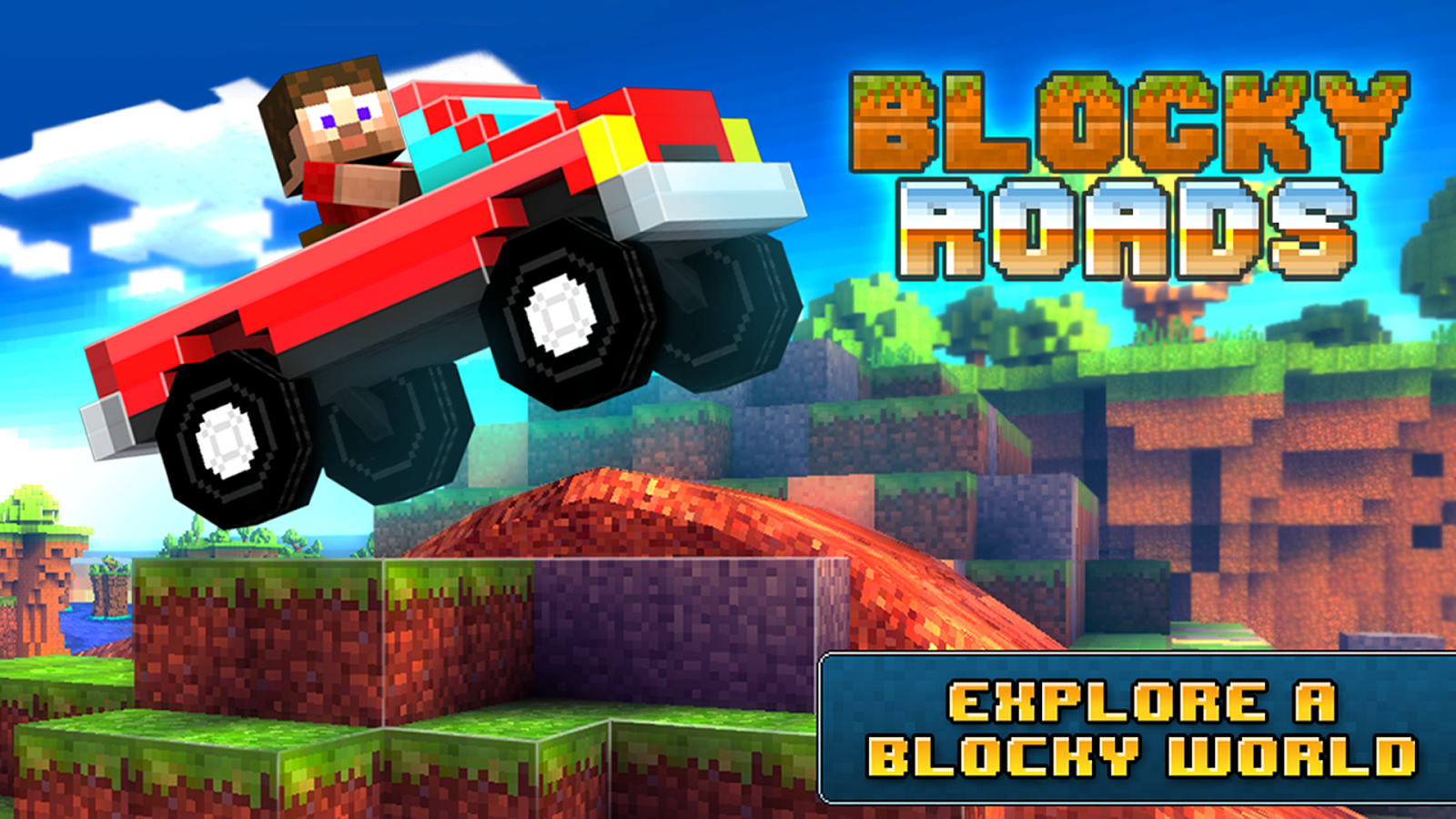 Blocky Roads - 3d racing game - screenshot