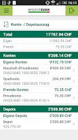 Screenshot of Migros Bank E-Banking Phone
