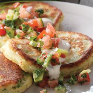 Savory Pancakes with Mustard Greens & Tahini Sauce