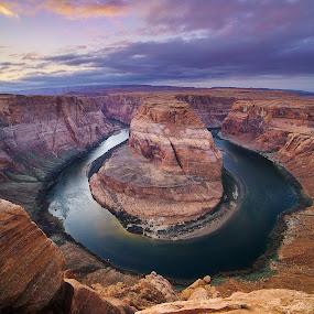 Colorado Bliss by Eric Yiskis - Landscapes Deserts ( colorado river, page, wide angle, sunset, arizona, soft light, horseshoe bend, horseshoe )