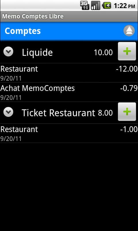 Memo-Comptes Libre - screenshot