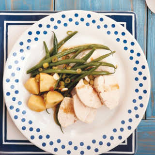 Gingery Poached Chicken Breasts with Green Beans and Potatoes.