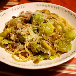 Braised Brussels Sprouts with Bacon, Golden Raisins and Pasta.