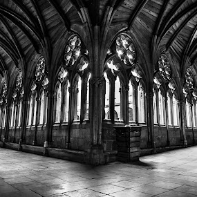 Right or Left  by Lauren Carroll - Black & White Buildings & Architecture ( wood, church, black and white, windows, architecture,  )