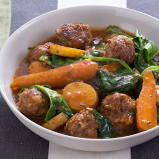 Navarin-Style Lamb Meatball Stew with Pea Tips & Carrots