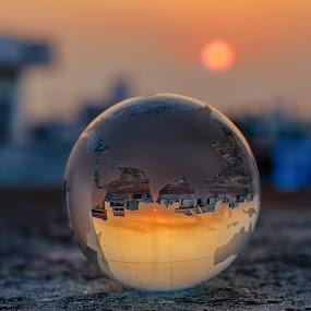 World Upside Down by KP Singh - Artistic Objects Glass ( punjab, sunset, glass, globe, ludhiana )