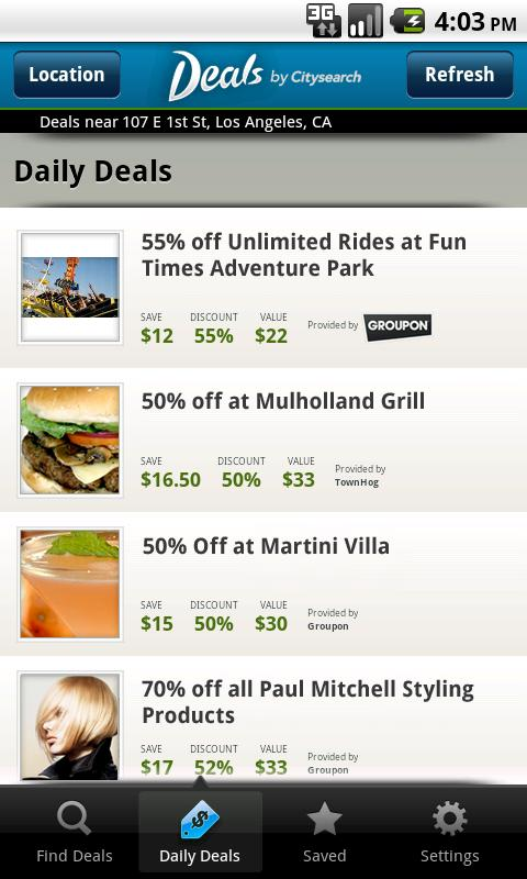 Deals by Citysearch - screenshot