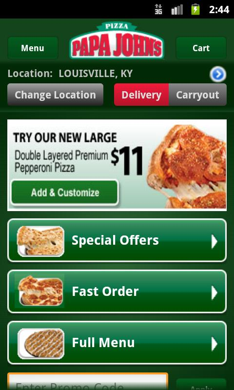 Papa John's Pizza - screenshot