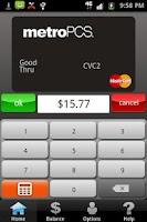 Screenshot of MetroPCS Virtual MasterCard