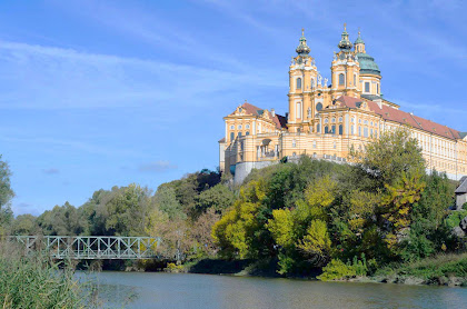 Melk Abbey, a Benedictine abbey overlooking the Danube above the town of Melk, Austria.