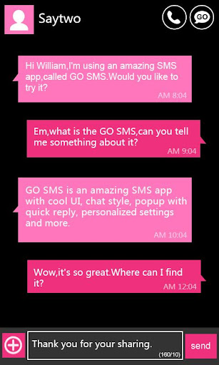 GO SMS Pro WP8 PinK ThemeEX
