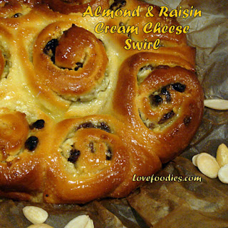 Almond & Raisin Cream Cheese Swirly Bread